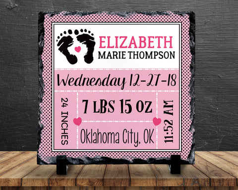 Slate Sign - Baby Girl Birth Announcement, Birth Stats, New Baby, Nursery, Baby Shower - Home Decor, Custom Personalized Slate Plaque Gift at GroovyGiftables.com