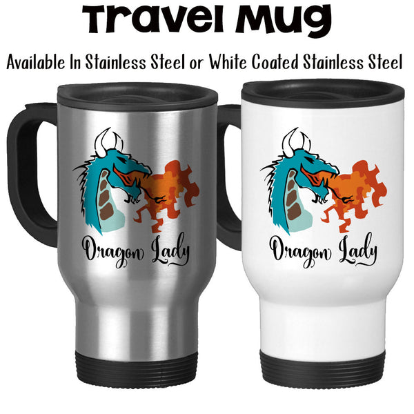 Travel Mug, Dragon Lady, Dragon Fire, Dragon Design, Fire Breathing Dragon Before Coffee, Boss Lady, Stainless Steel, 14 oz - Gift Idea