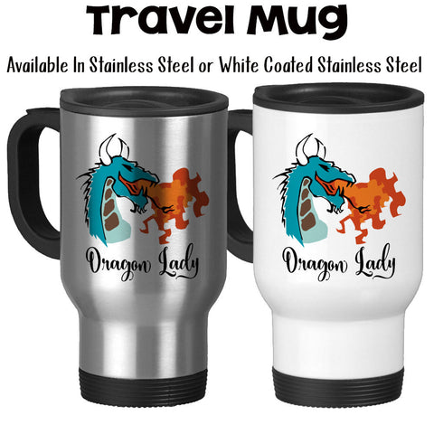 Travel Mug, Dragon Lady, Dragon Fire, Dragon Design, Fire Breathing Dragon Before Coffee, Boss Lady