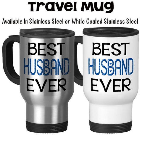 Travel Mug, Best Husband Ever 001, Blue Heart Valentines Day Anniversary Gift Wedding Gift Love Romantic, Stainless Steel, 14 oz - Gift Idea