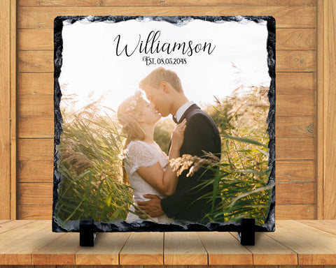 Slate Sign - Wedding Photo Plaque, Wedding Photo Sign, Monogram Name, Wedding Keepsake , Home Decor