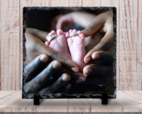 Slate Sign - Baby Photo Plaque, Baby Photo Sign, Family Photo Gift, Baby Keepsake Photo , Home Decor