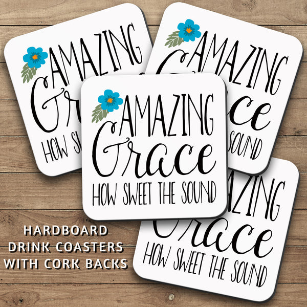 Drink Coasters, Amazing Grace How Sweet The Sound 001, Christian Gift, Bible Verse, Saved, Salvation