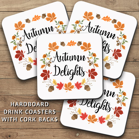 Drink Coasters, Autumn Delights 001, Autumn Wreath, Leaves, Decor, Fall Decorating