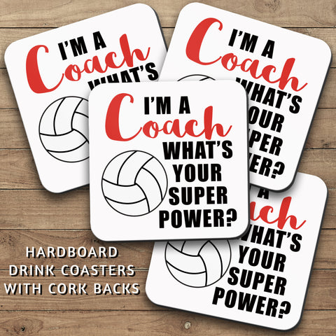 Drink Coasters, Im A Volleyball Coach 001, Whats Your Super Power, Volleyball Decor, Volleyball Gift