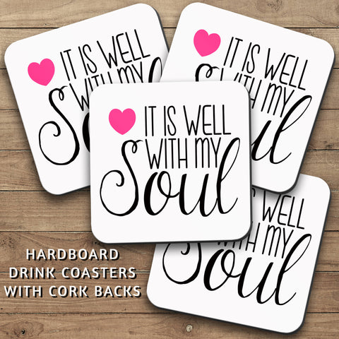 Drink Coasters, It Is Well With My Soul 001, Christian Gift, Salvation, Christian, Decor