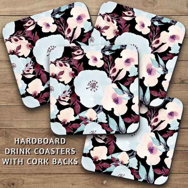 Drink Coasters, Watercolor Flowers Pattern 002, Floral, Decor, Black Blue Purple