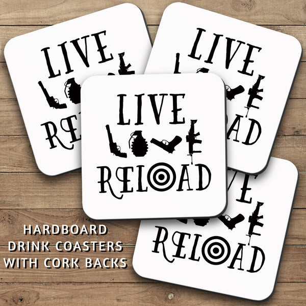Drink Coasters, Live Love Reload 001, Man Cave, Manly, 2nd Amendment, Masculine