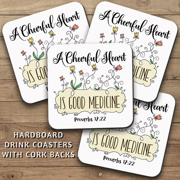 Drink Coasters, A Cheerful Heart Is Good Medicine 001, Christian, Bible Verse, Proverbs, Happy