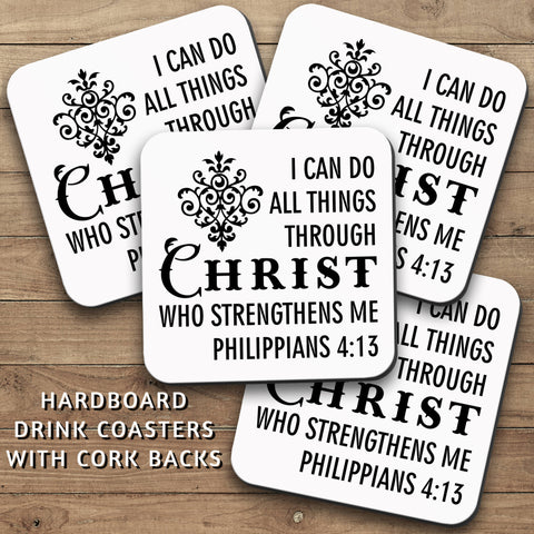 Drink Coasters, I Can Do All Things Through Christ 001, Christian Decor, Bible Verse, Christian Gift