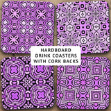 Drink Coasters, Geometric Patterns Purple 001, Abstract Damask Flowers Stars Patterns, Black Accents