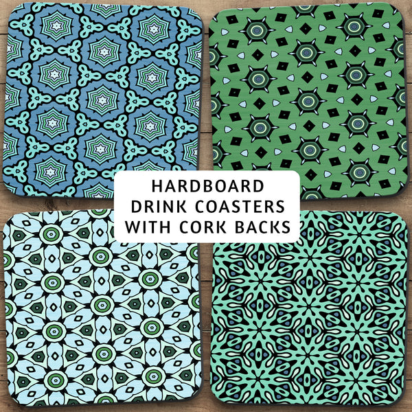 Drink Coasters, Geometric Patterns Blue Green 001, Man Cave, Manly, Star Pattern, Masculine