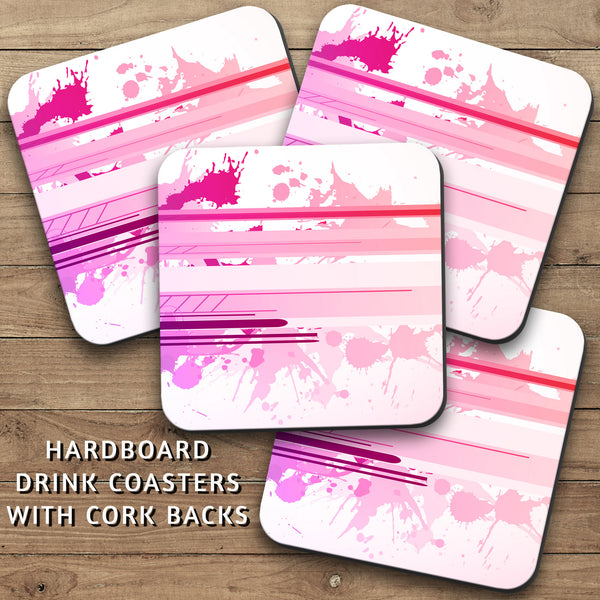 Drink Coasters, Graffiti Pink Purple Art 001, Paint Splatters, Pink & Purple, Watercolor Stripes