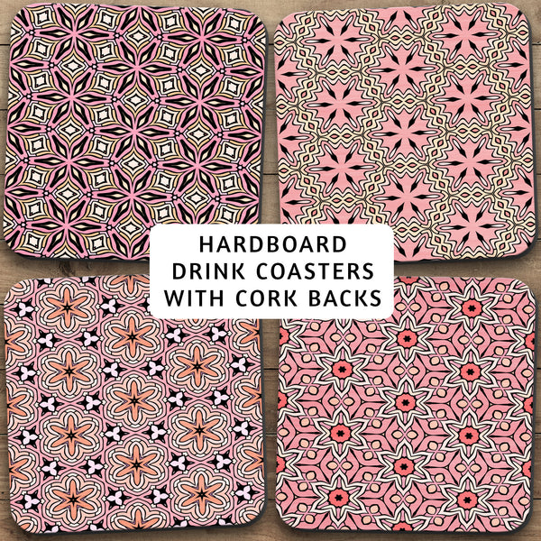 Drink Coasters, Geometric Patterns Pink Peach 001, Abstract Damask Flowers Stars Patterns