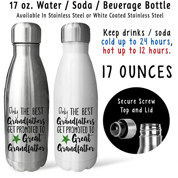 Reusable Water Bottle - Best Grandfathers Get Promoted Great Grandfather 001, Baby Pregnancy Reveal