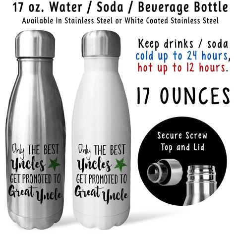Reusable Water Bottle - The Best Uncles Get Promoted To Great Uncle 001, Baby Pregnancy Reveal