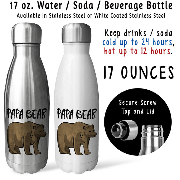 Reusable Water Bottle - Papa Bear 001, Fathers Day Gift, Dad Mug, Drink Bottle, Gift For Dad