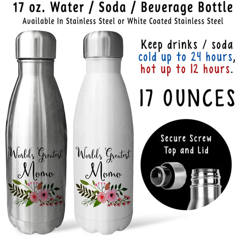 Reusable Water Bottle - Worlds Greatest Momo 001, Momo Gift, Momo Mug, Momo Drink Bottle