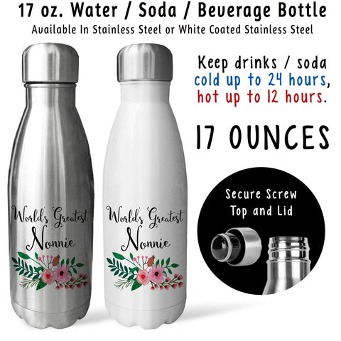 Reusable Water Bottle - Worlds Greatest Nonnie 001, Nonnie Gift, Nonnie Mug, Nonnie Drink Bottle