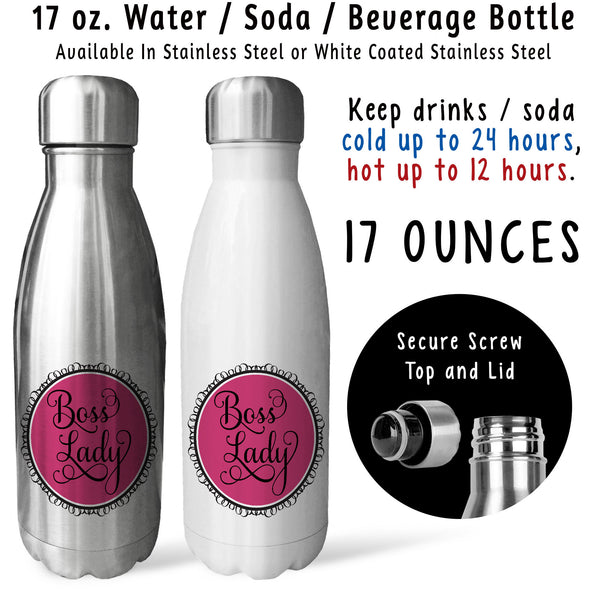 Reusable Water Bottle - Boss Lady 001, Girl Boss, Boss Power, Boss Mug, Boss's Day, Boss Gift