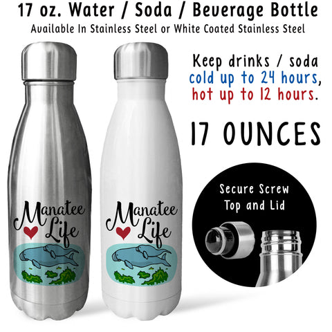 Reusable Water Bottle - Manatee Life 001, Mothers Day, Manatee Lover, Manatee Gift, Manatee Family