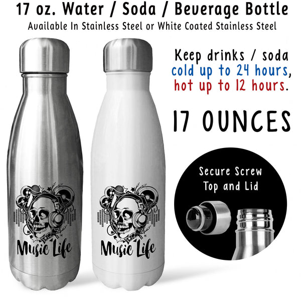 Reusable Water Bottle - Music Life 001, Music Lover, DJ, Music Art, Funky Music Skull, Songs, Sing
