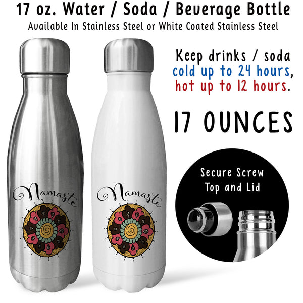 Reusable Water Bottle - Namaste Mandala 001, Yoga Drink Bottle, Yoga Water Bottle, Yoga Gift