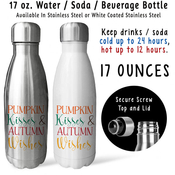 Reusable Water Bottle - Pumpkin Kisses And Autumn Wishes 001, Thanksgiving, Fall, Autumn