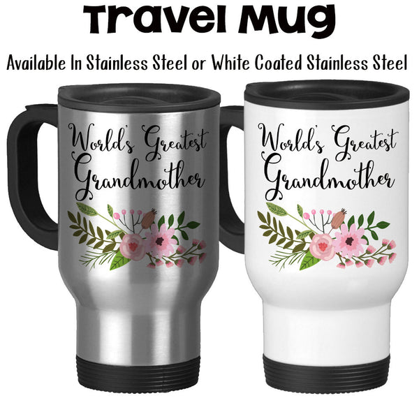 Travel Mug, World's Greatest Grandmother Gift From Grandchildren Gift For Grandmother Best Grandmother, Stainless Steel, 14 oz - Gift Idea at GroovyGiftables.com