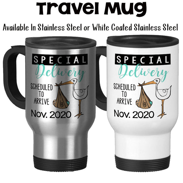 Travel Mug, Personalized Special Delivery Blue Pink or Mint Neutral Stork Baby Announcement Pregnancy Reveal, Stainless Steel, 14 oz