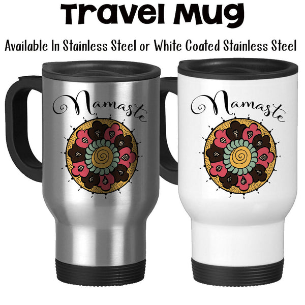 Travel Mug, Namaste Yoga Colorful Mandala Doodle Art Design Relaxation Peace Calm Focus Floral
