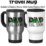 Travel Mug, Dad Established Personalized Date Camo Military Father's Day Parenting Dad's Birthday Dad Hero, Stainless Steel, 14 oz