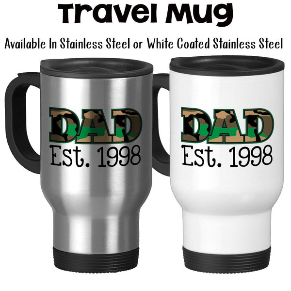 Travel Mug, Dad Established Personalized Date, Camo, Military, Father's Day, Hero