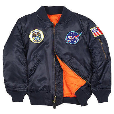 Alpha Industries Youth NASA MA-1 Flight Jacket (toddler, kids) in Replica Blue