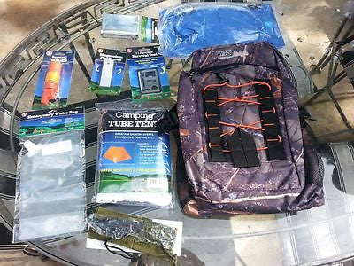 Emergency Survival Kit, Bug Out Bag, Hydration System, Fire Starter, Tent