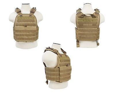 Tactical Molle Plate Carrier Vest Body Armor  Tan