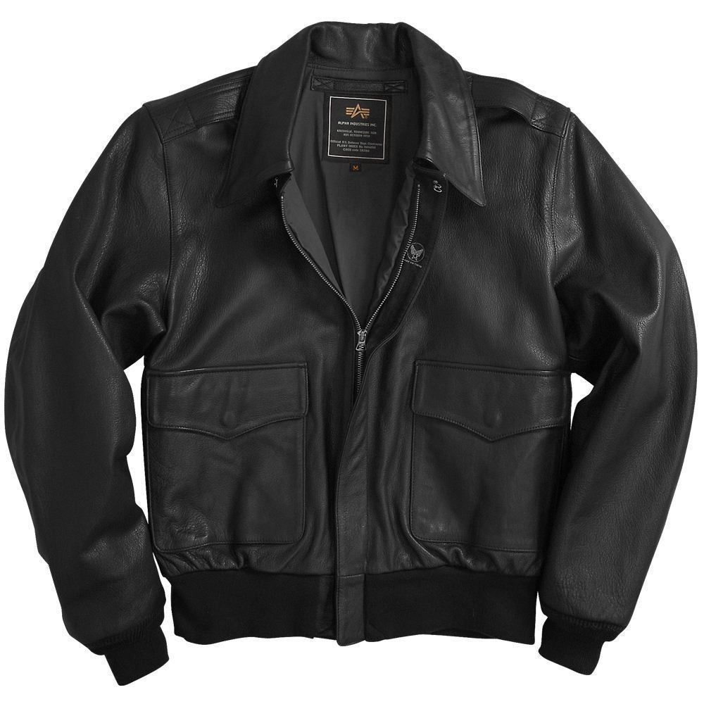 Alpha Industries A-2 Leather Flight Jacket in Brown or Black