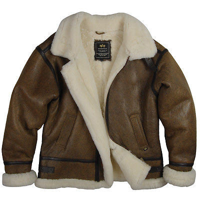 Alpha Industries B-3 Sheepskin Sherpa Bomber Jacket  FREE SHIPPING!