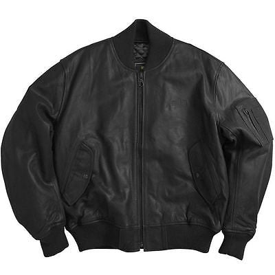Alpha Industries MA-1 Leather Aviator Flying Jacket in Black or Brown