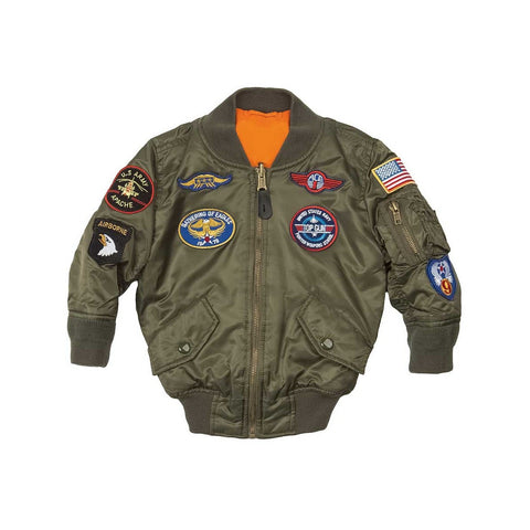 Alpha Industries Boys MA-1 Flight Jacket with Patches  (toddler, kids, youth)