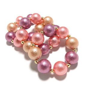 Dusty Rose/Gold/Pink Bauble Bracelet  - Villavillekula, llc - Philadelphia, PA
