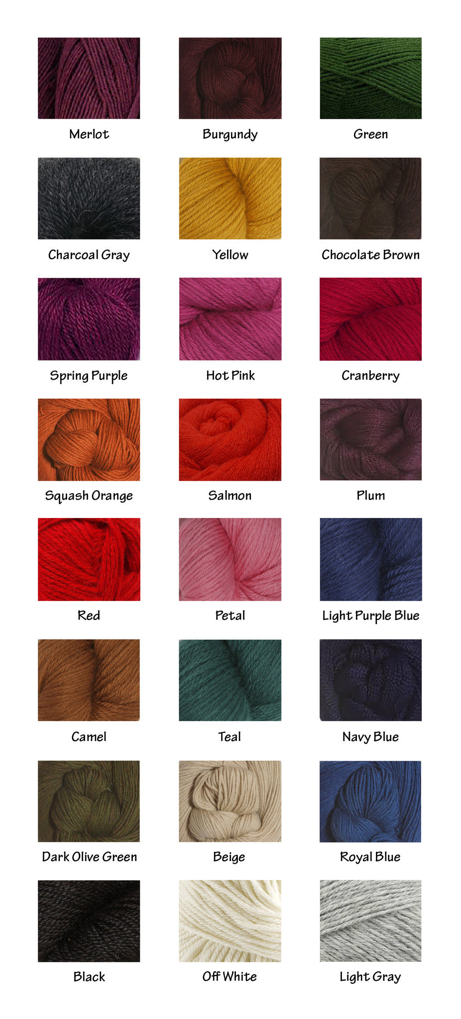 Alpaca colors chart sizing alpaca by karim colors are very close to the real yarn color nvjuhfo Choice Image