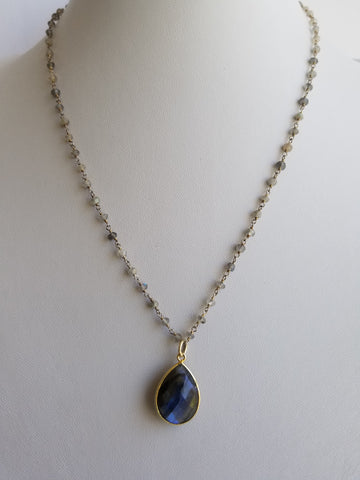 Necklace Labradorite Beads 3mm 14k Gold Filled Beaded Rosary Chain and Labradorite Tear drop Pendant