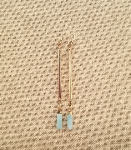 14k Gold Filled vertical bar and Amazonite earrings