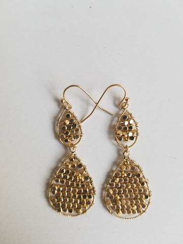 14k Gold Filled or Sterling Silver Double tears and beads earrings