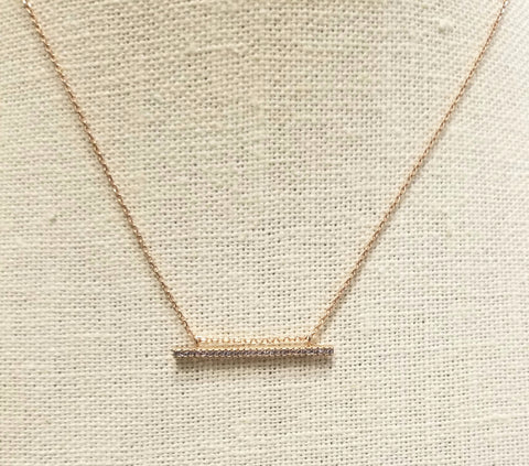 Horizontal 14K Gold Filled Bar with cubic zirconia in a 14K Gold Filled