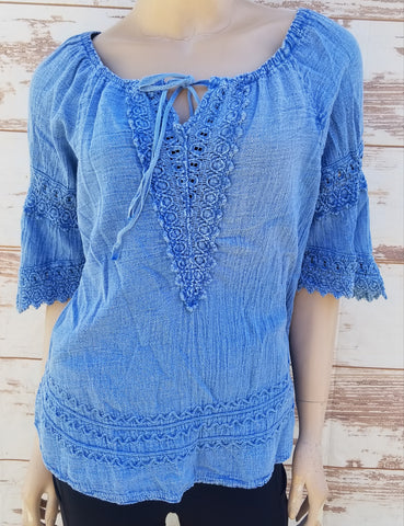 """Western"" Denim Blue peasant blouse"