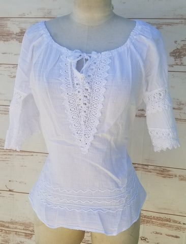 """Western"" White peasant blouse"