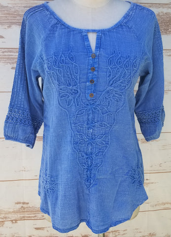 """Bali"" Denim color 100% Organic Cotton blouse"