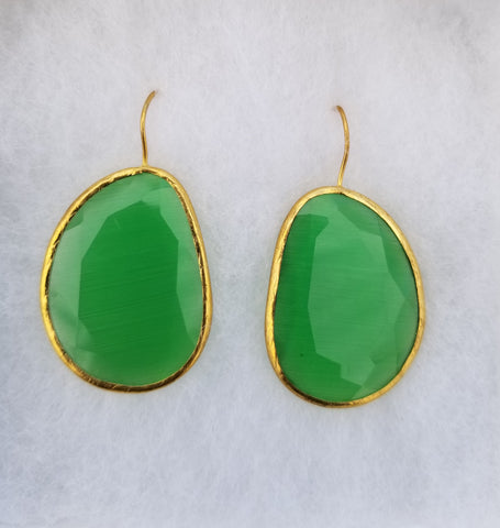 Earrings 14 k Gold Filled and green chalcedony . Exotic Collection